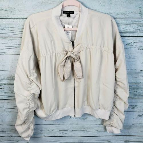 new ruched cropped bomber jacket front zip