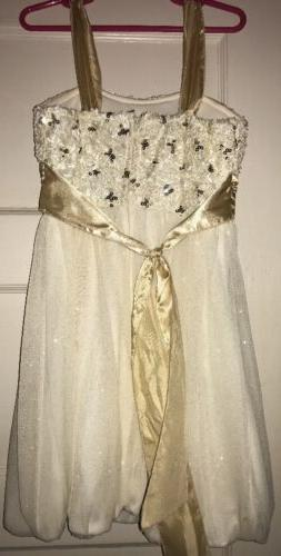 NWT Girls Gold Bow, Sparkle Zip Back 7