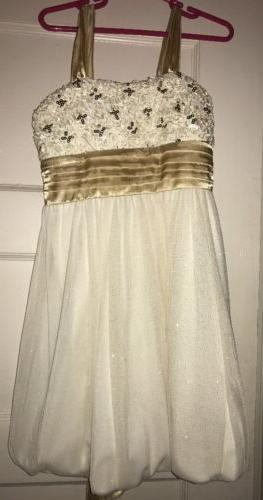 nwt girls off white gold dress sequins