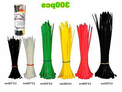300pc Nylon Cable Ties 6Inch 8Inch 10Inch Self-Locking Zip T