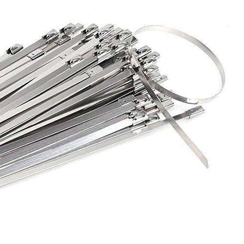 HYCC 100pcs 304 Steel Cable Zip Coated Locking