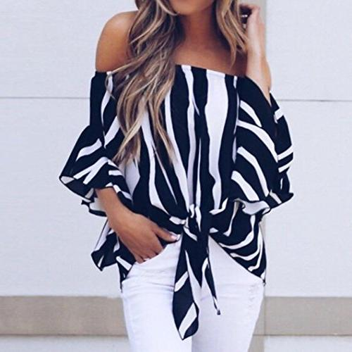 LISTHA Striped Blouse Off Tie Casual T