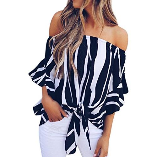 striped blouse shoulder waist tie