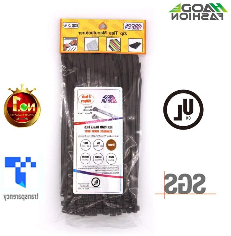 Upgrade 150 Wide Strong 8 Brown Cable Zip Ties, Heavy Duty 50