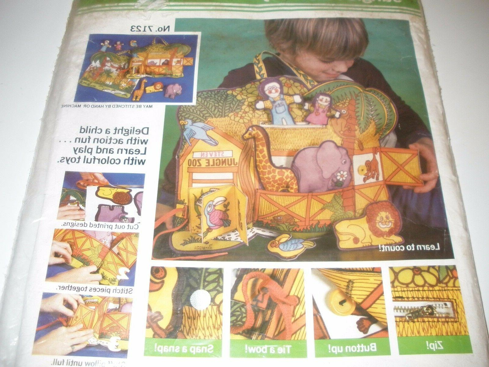 Vintage Teaching BUTTON TIE Kit BUSY TOY JUNGLE PILLOW