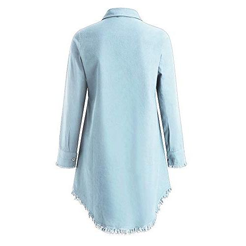 Respctful✿Women Casual Shirts Blouses Hem with Light Blue