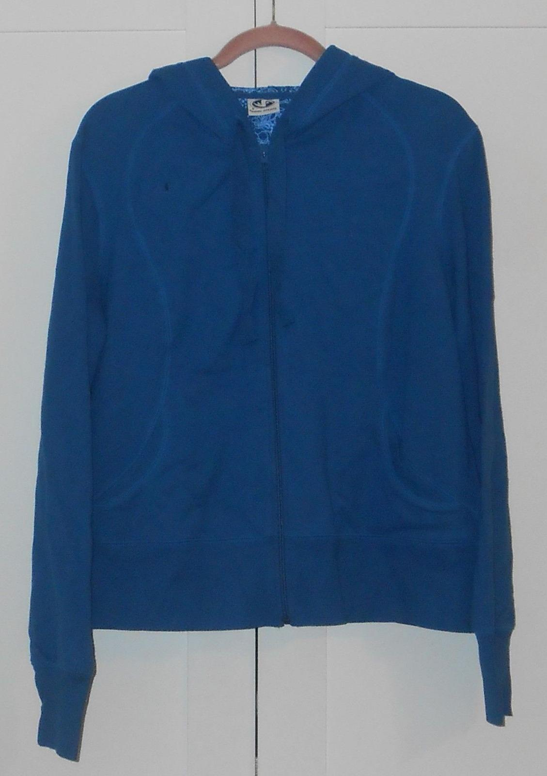 women s blue french terry zip up