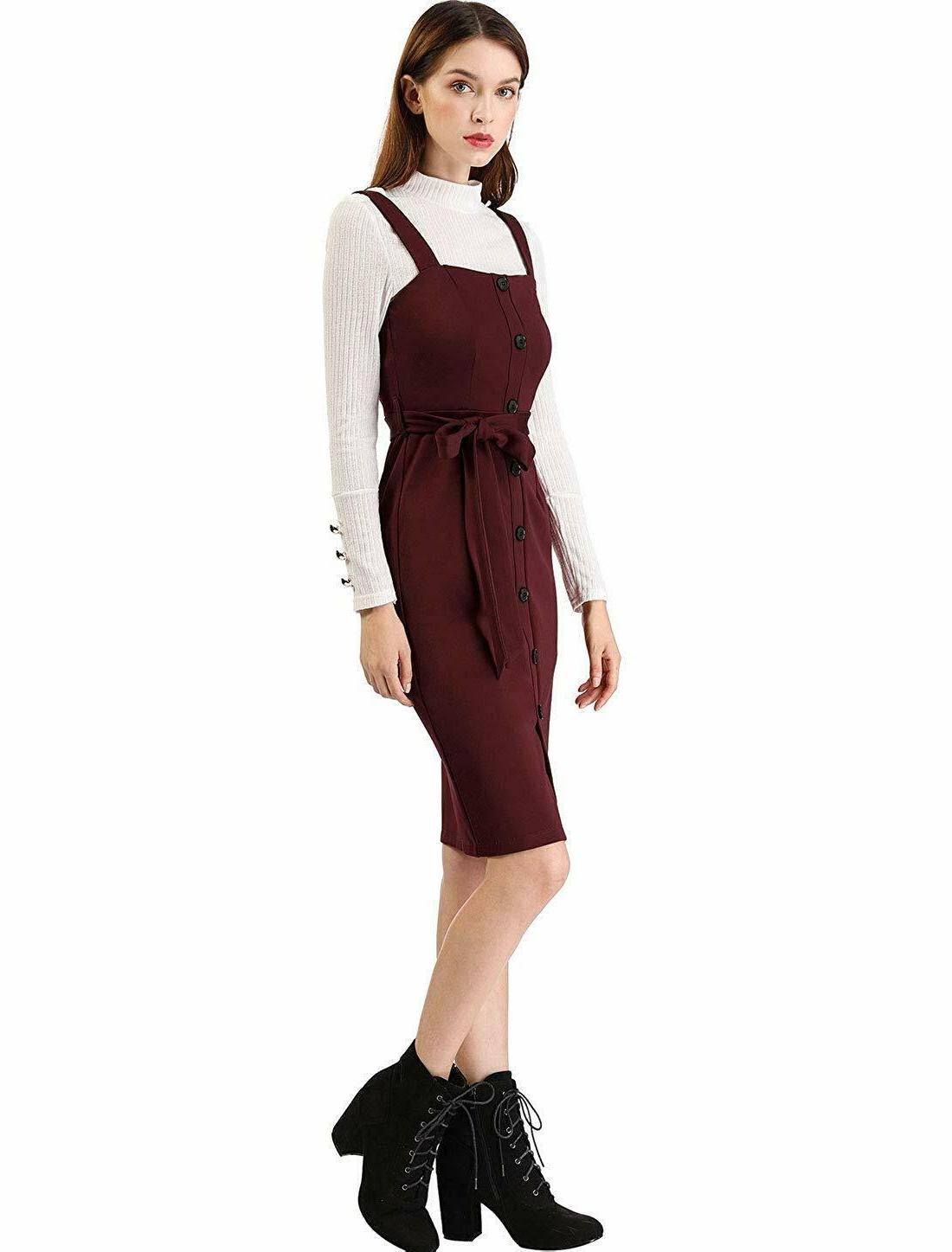 Allegra K Button Decor Strap Overall Dress