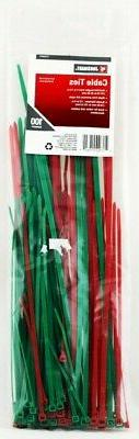 Job Smart Zip Ties 100 Count Cable Green & Red Assorted Leng