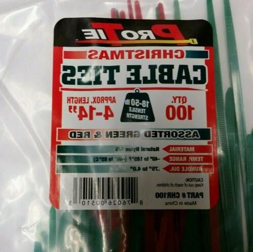 Pro Tie 100 Cable Green & Red Assorted Cable Ties