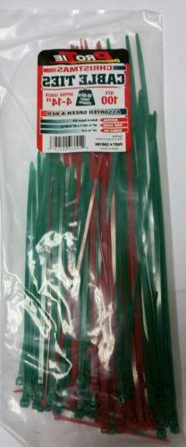 Pro Tie Zip Ties 100 Count Cable Green & Red Assorted Length