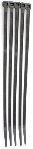 """12"""" Inch Black Zip Cable Ties 100 Pack, 40lb Strength Nylon"""