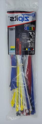 "Cambridge ZipIts Cable Ties 150 Pcs 4"", 8"", 11"" Assortment o"