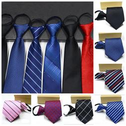 Lazy Men's Zipper Necktie Solid Striped Casual Business Wedd