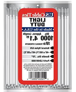 US Cable Ties LD4N1000 4-Inch Light Duty Cable Ties, Natural