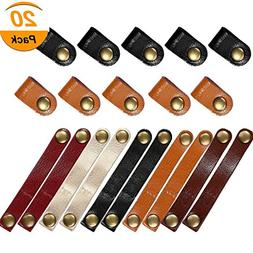 20 Pieces Leather Cable Straps,Cable Organizer Earphones Cor