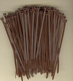 """100 5"""" Inch Long 40# Pound BROWN Nylon Cable Zip Ties Ty Wra"""