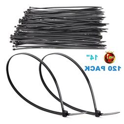 HAODE FASHION 120 Pack Long 14 Inch Black Strong Cable Ties,