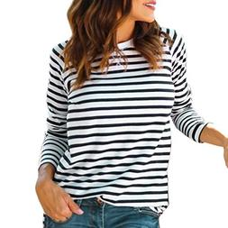 LISTHA Long Sleeve Striped Tops for Women Round Neck T-Shirt