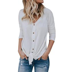 FEITONG Womens Loose Knit Tunic Blouse Tie Knot Tops Bat Win
