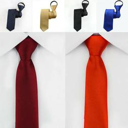 Men Fashion 5Cm Narrow Necktie Solid Color Zip Tie Classic B