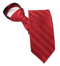 Men's Elegant Bright Red Striped Zip Silk Ties Youth Formal