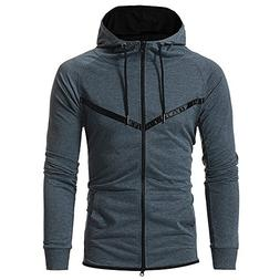 Charberry Mens Splicing Hooded Pullover Sweater Patchwork Ho