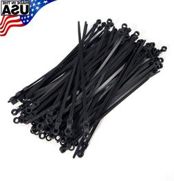 """Mounting Hole Zip Cable Ties 8"""" 40lbs 100pc UV Black #10 Scr"""