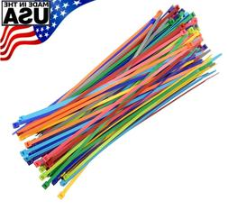 "Multi Color Zip Cable Ties 11"" 50lbs 100pc Made in USA Nylon"