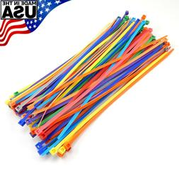 "Multi Color Zip Cable Ties 8"" 40lbs 100pc Made in USA Nylon"