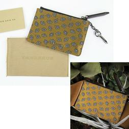 NEW $250 BURBERRY Citrus Gold Tucker SILK Tie Print Zip Pouc