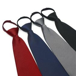 New Lazy Men Zipper Necktie Solid Business Wedding Party Zip