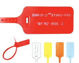 NEW RED OFF WHITE ZIP TIE W PRINTED OFF WHITE TEXT THE TEN R