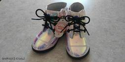 New toddler girls boots size 6 iredescent high top zip up si