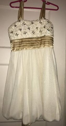 NWT Girls Off White Gold Dress Sequins, Bow, Sparkle Skirt Z