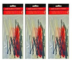 Set of 300 Nylon Cable Ties 3 Assorted Sizes & 3 Assorted Co