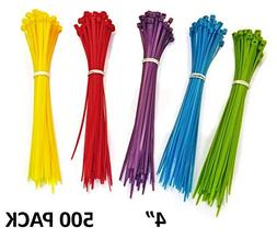 Nylon Cable Ties - 4 - Multi Color  - 500 Pieces by Electrid