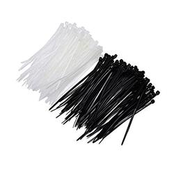 Mudder 6 Inch Nylon Cable Ties in Black and White, 200 Piece