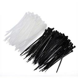 Mudder 4 Inch Nylon Cable Ties in Black and White, 200 Piece