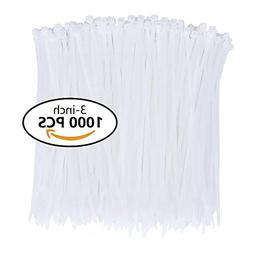 Nylon Zip Ties  3 Inch with Self Locking Cable Ties in White