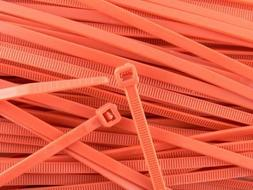 8 Inch Orange Standard Nylon Zip Tie - 100 Pack