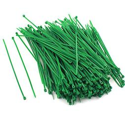 300 Pcs Plastic Power Cable Wire Cord Zip Ties Straps Green