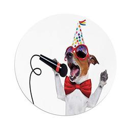 Polyester Round Tablecloth,Popstar Party,Jack Russel Dog wit