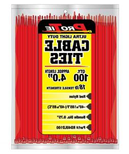 Pro Tie RD4ULD100 4-Inch Red Ultra Light Duty Color Cable Ti