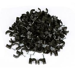 RG6 Cable Clip, KinHom Premium Black Single Coaxial Nail Out