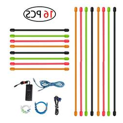 Rubber Twist Ties, 16 Pack Reusable Colorful All-Purpose Sil