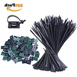 NOUVCOO 250 Pieces Nylon Cable Zip Ties, 4x250mm Black Self-