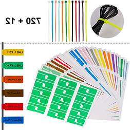 720 Pcs Self-Adhesive Cable Label Tags + 12 Colors Nylon Cab