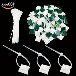"""100 Pack Self Adhesive Cable Tie Mounts 1""""x1"""" with 100 Pack"""
