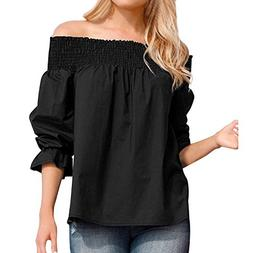 Toimoth Sexy Women Off Shoulder T-Shirts Puff SleeveTops Bow